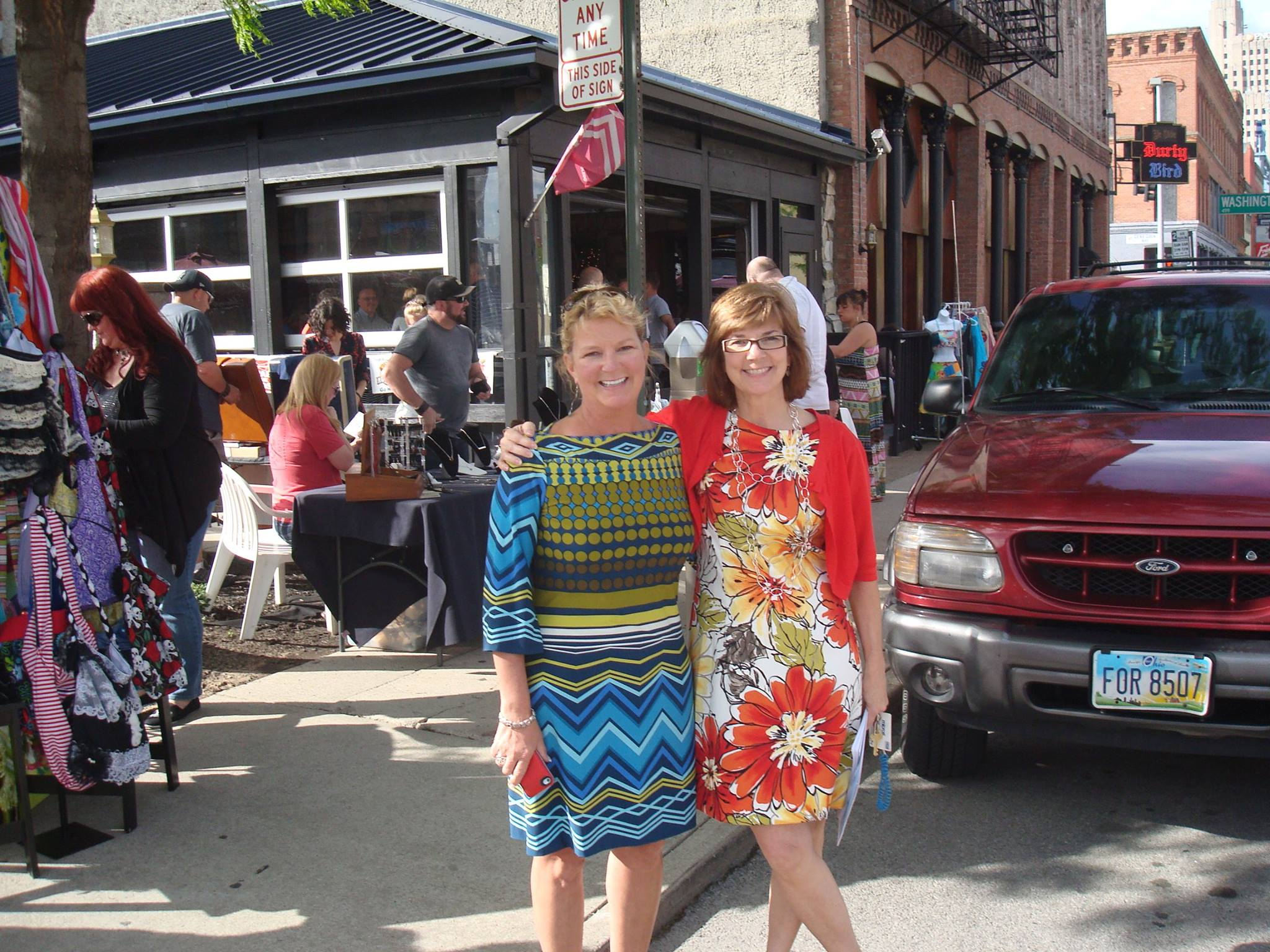 Julie and Linda outside June 2014