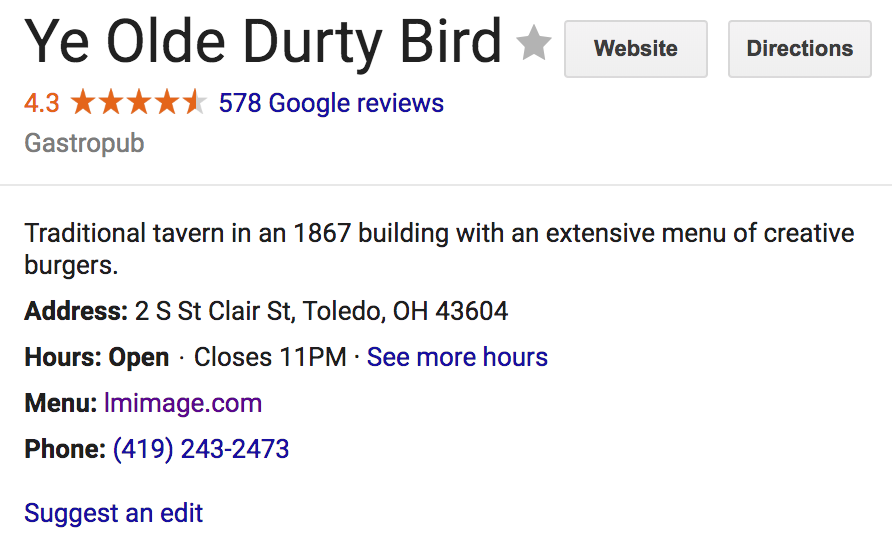 Ye Olde Durty Bird Downtown Toledo Restaurant Google reviews 2018